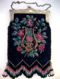 Antique Art Nouveau beaded purse lyre design thick fringes