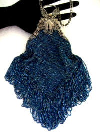 Antique knit metallic blue glass beaded purse long fringe butterfly filigree silver toned frame