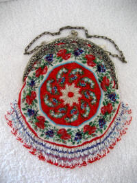 Antique late Victorian micro beaded authentic piecrust micro beaded purse