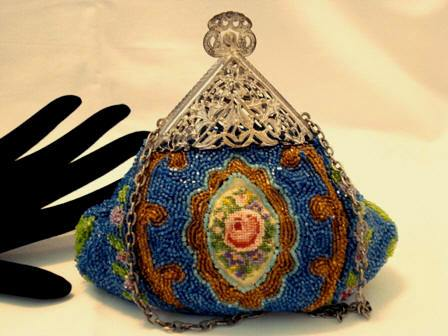 Antique beaded and embroidered Victorian era puffy purse