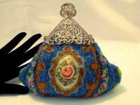 Victorian 1900 beaded puffy purse with needlepoint center