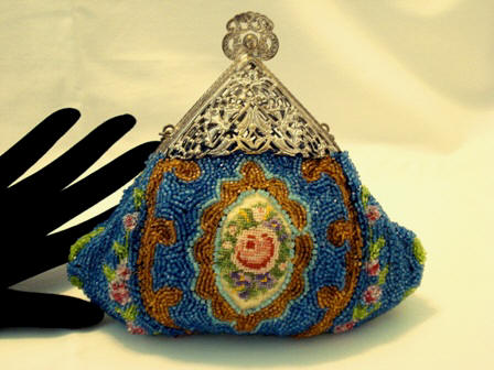 Victorian beaded embroidered puffy purse filigree frame