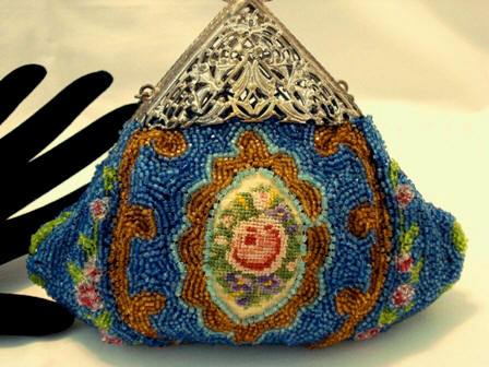 Victorian beaded and embroidered puffy purse with filigree frame