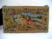 Carryall compact purse with micro petit point figural scene