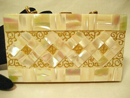 Vintage mother of pearl compact carryall purse