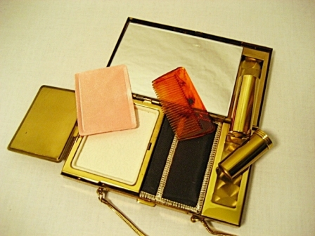 Vintage mother of pearl compact carry all purse unused condition