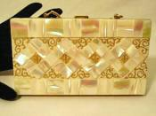 Vintage 1940's dual shaped mother of pearl compact vanity carryall purse