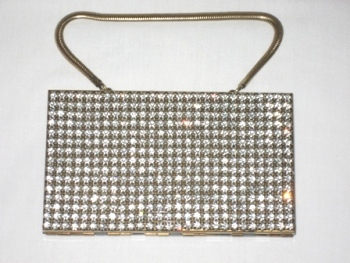 Vintage 1940 Wiesner Trickettes rhinestone compact carryall purse