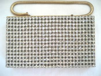 Wiesner Trickettes rhinestone covered comapact carry all purse