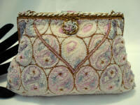 Vintage Delill pastel micro beaded evening purse paisley
