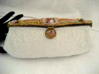 Vintage Delill designer white beaded evening purse with Limoges porcelain figural romance plaque 1930 1940