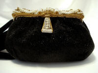Vintage 1930's Dofan French elegant black beaded evening purse gorgeous frame