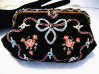 Ed B Robinson French black beaded and decorated evening purse 1940 handbag