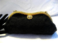 Vintage 1930 1940 Freddy of Paris French black beaded evening purse with rhinestone frame
