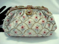 Vintage Freddy of Paris cream white roses beaded purse enameled frame