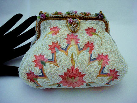 Paris France puffy style beaded embroidered evening purse