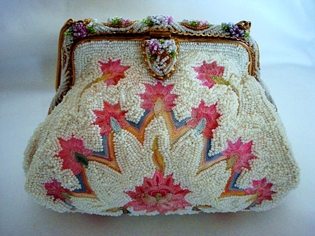 Paris France beaded pink embroidered purse