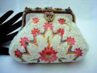 French 1930 pink embroidered beaded puffy style evening purse