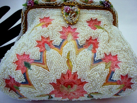 Vintage 1930 French beaded pink embroidered evening bag