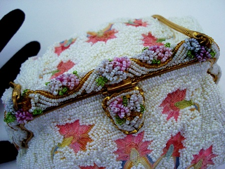 Vintage French beaded pink embroiderd purse