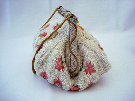 Vintage French puffy style beaded pink embroidered purse