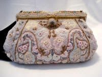 French 1930 pastel beaded evening purse enameled frame