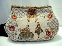 Vintage French beaded scenic embroidered purse enameled frame