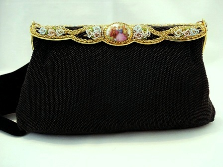 Elegant French black beaded purse with porcelain