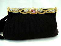 Vintage French black beaded and porcelain purse