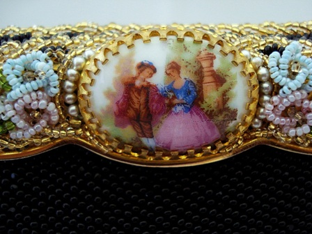 French beaded evening purse with porcelain frame