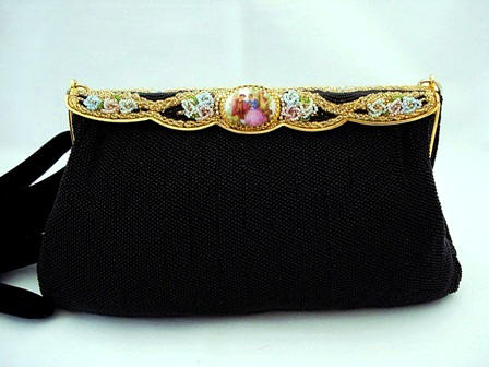 Elegant vintage black beaded and porcelain purse