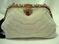 Vintage elegant French beaded evening handbag decorated frame