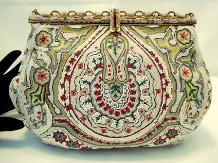 French beaded and embroidered purse with enameled frame