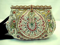 French beaded intricately embroidered enameled evening purse
