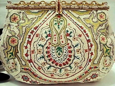 Vintage French ruby embroidered beaded evening purse