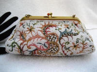 Vintage 1930 French designer Josef white beaded and Tambour embroidered evening purse in the puffy style