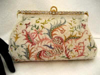 Vintage 1940 Josef beaded embroidered evening purse with rhinestone frame