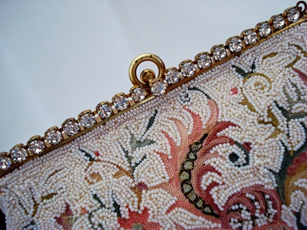 Josef beaded embroidered purse whith rhinestone frame ca 1940's