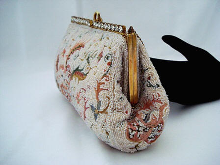 Vintage Josef embroidered and beaded evening bag rhinestone frame