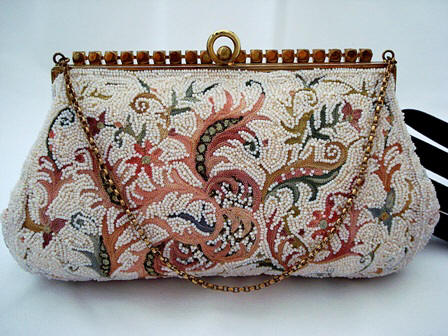 Vintage 1940 Josef Point de Beauvais embroidered beaded purse