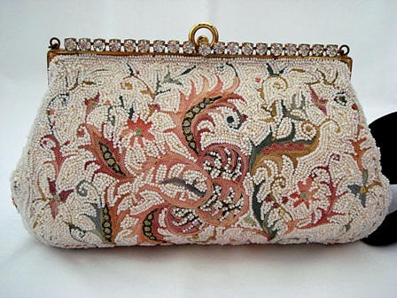 Vintage designer evening bag Josef beaded and embroidery