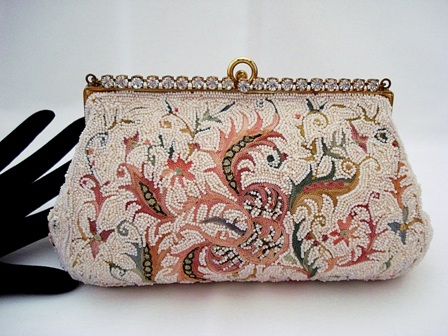 Vintage 1940 Josef beaded embroidered evening purse rhinestone frame