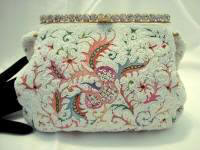 Vintage 1930 1940 Josef designer beaded embroidered purse rhinestone frame