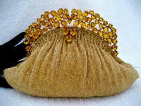 Vintage Josef gold beaded evening handbag on a Hobe jeweled frame