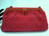Vintage Michel Swiss ruby red beaded evening purse