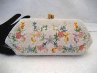 Small French hand beaded and embroidered clutch purse 1930 1940