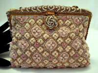 Vintage French heavily pastel beaded evening purse ca. 1920 - 1930
