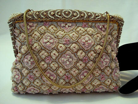 French elegant evening bag heaping in pastel glass beads