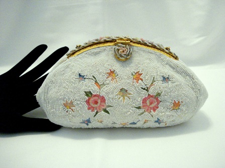 Vintage 1930 French white beaded embroidered evening purse