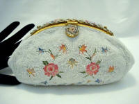 Vintage 1930 - 1940 French white beaded embroidered evening purse